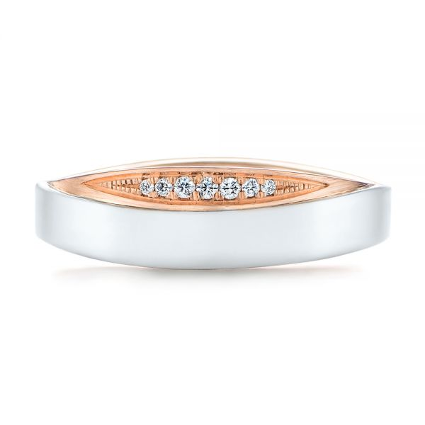 Custom Two-Tone Men's Diamond Wedding Band - Top View -  104291 - Thumbnail