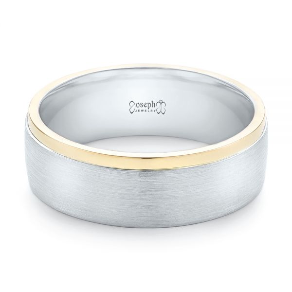 Platinum And 18K Gold Custom Two-tone Men's Wedding Band - Flat View -
