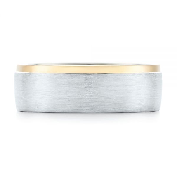 Platinum And 18K Gold Custom Two-tone Men's Wedding Band - Top View -