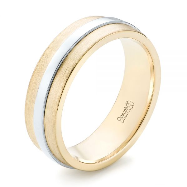 14k Yellow Gold And 14K Gold Custom Two-tone Men's Wedding Band - Three-Quarter View -