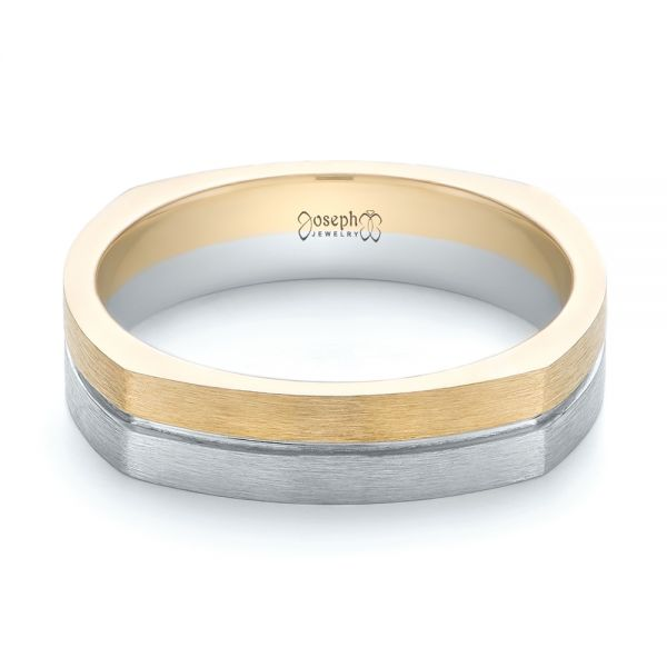 14k Yellow Gold And 14K Gold Custom Two-tone Men's Wedding Band - Flat View -