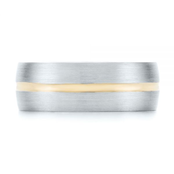 14K Gold And 14k Yellow Gold Custom Two-tone Men's Wedding Band - Top View -