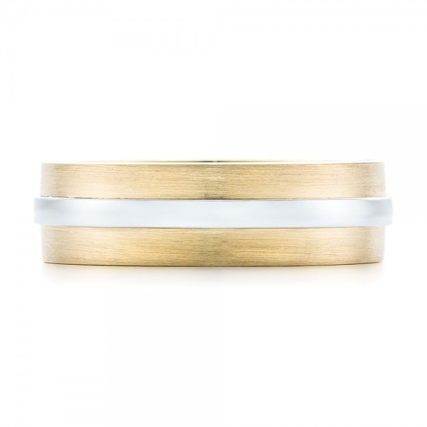 Custom Two-Tone Men's Wedding Band - Top View