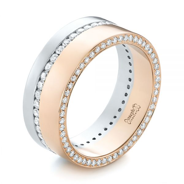 14k Rose Gold And Platinum Custom Two-tone Diamond Men's Band - Three-Quarter View -  103347