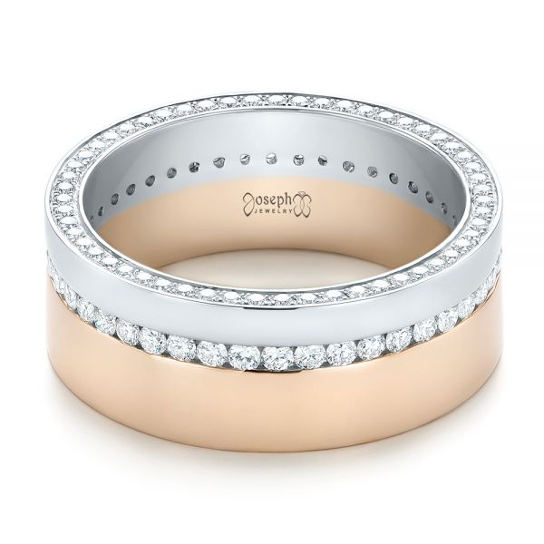 14k Rose Gold And Platinum Custom Two-tone Diamond Men's Band - Flat View -  103347