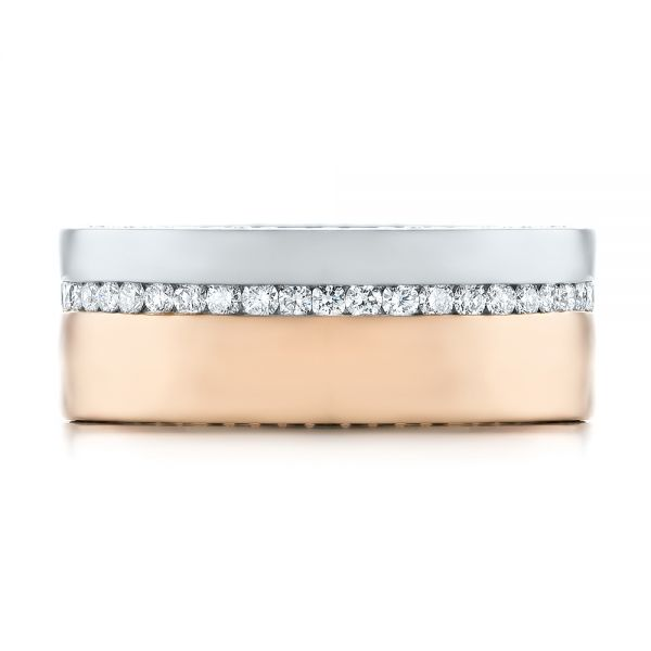 14k Rose Gold And Platinum Custom Two-tone Diamond Men's Band - Top View -  103347