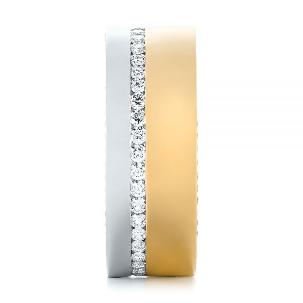 18k Yellow Gold And Platinum 18k Yellow Gold And Platinum Custom Two-tone Diamond Men's Band - Side View -  103347