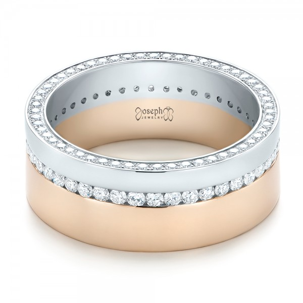 Two Platinum: Custom Two-Tone Rose Gold And Platinum Diamond Men's Band