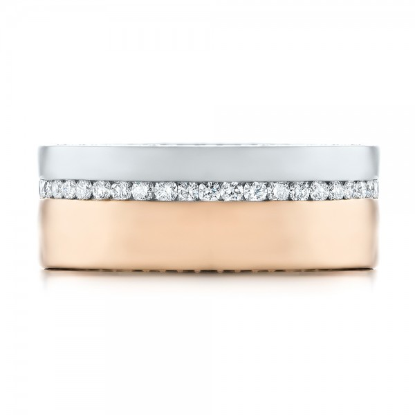 Custom Two-Tone Rose Gold and Platinum Diamond Men's Band - Top View -  103347 - Thumbnail