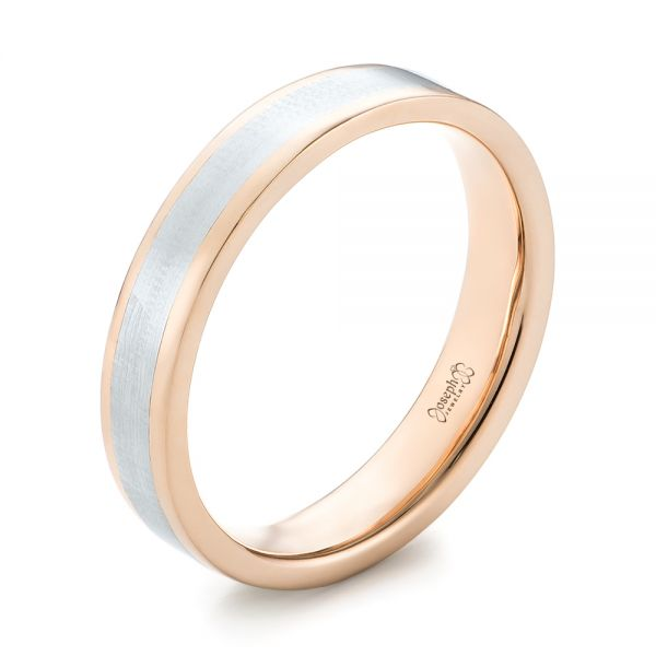 Platinum And 14k Rose Gold Custom Two-tone Wedding Band - Three-Quarter View -  103589