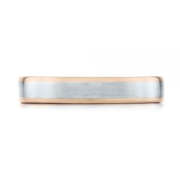 Platinum And 14k Rose Gold Custom Two-tone Wedding Band - Top View -  103589