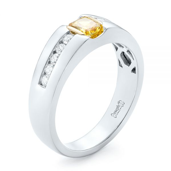 0ec0040637ec4 Custom Two-Tone Yellow and White Diamond Men's Wedding Band