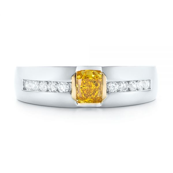 Platinum And 18K Gold Custom Two-tone Yellow And White Diamond Men's Wedding Band - Top View -