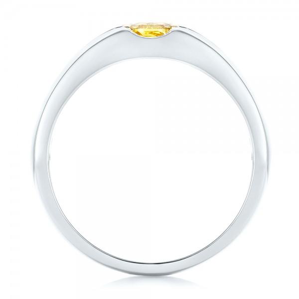 Custom Two-Tone Yellow and White Diamond Men's Wedding Band - Finger Through View