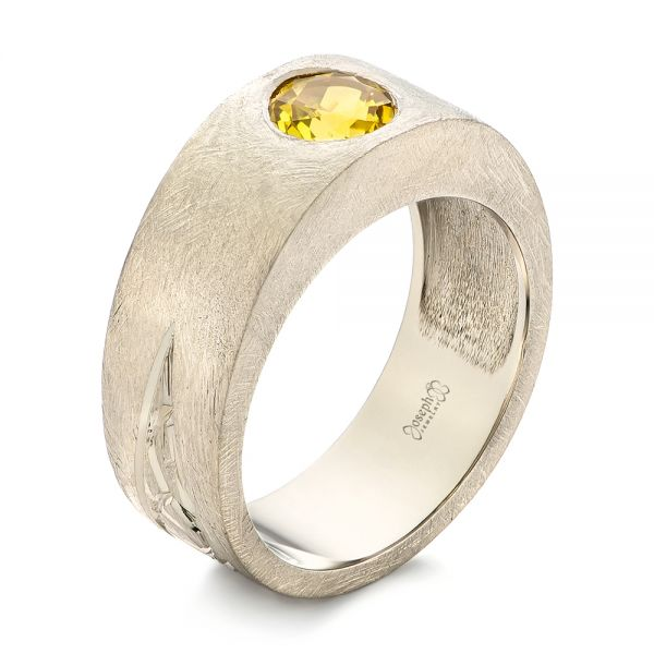 14k White Gold Custom Unplated Yellow Sapphire Hand Engraved Men's Band - Three-Quarter View -