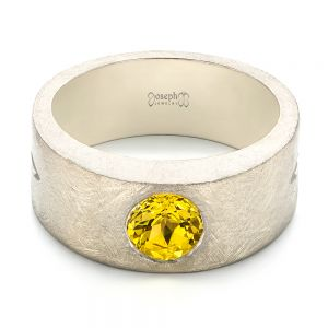 Custom Unplated Yellow Sapphire Hand Engraved Men's Band