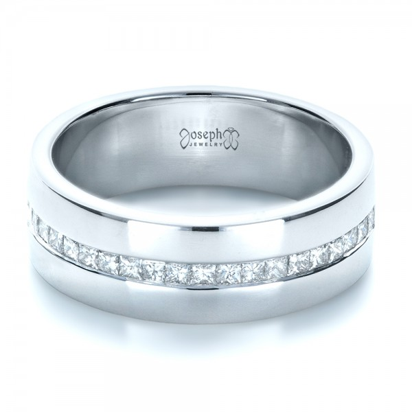 Custom white gold and diamond men39s wedding band 1306 for Mens wedding rings with diamonds white gold
