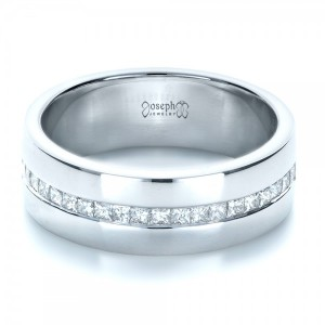 Custom White Gold and Diamond Men's Wedding Band