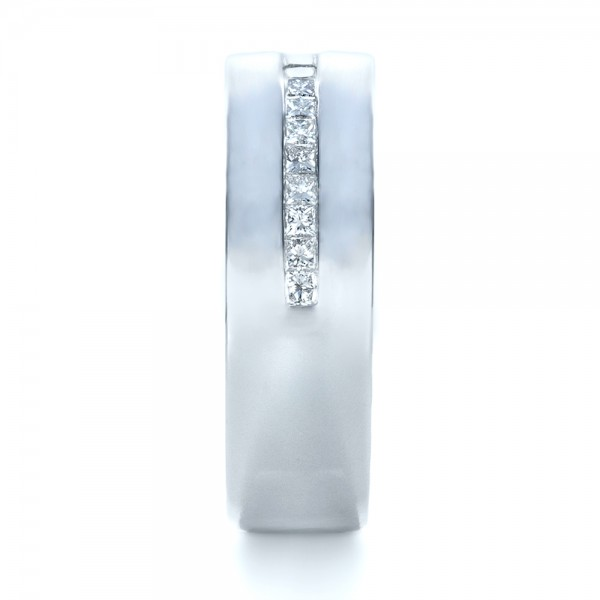 Custom White Gold and Diamond Men's Wedding Band - Side View -  1306 - Thumbnail
