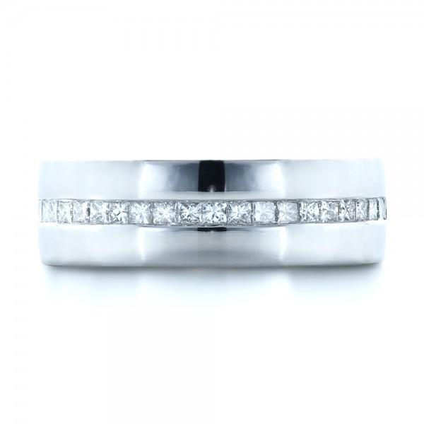 Custom White Gold and Diamond Men's Wedding Band - Top View