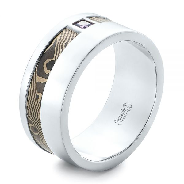 Custom White Gold and Mokume Men's Wedding Band - Image