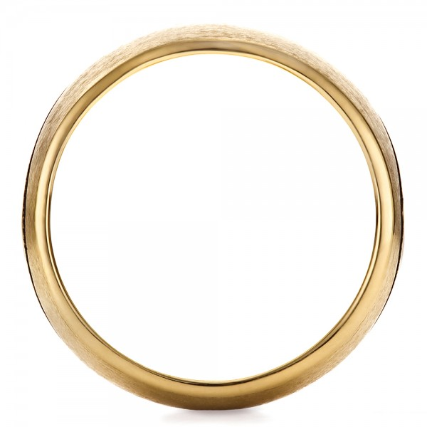 Custom Yellow Gold Brushed and Polished Men's Wedding Band - Finger Through View