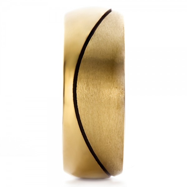 Custom Yellow Gold Brushed and Polished Men's Wedding Band - Side View