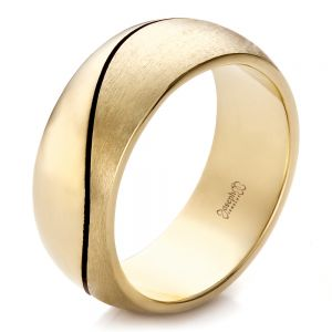 Custom Yellow Gold Brushed and Polished Men's Wedding Band - Image