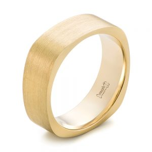 Custom Yellow Gold Square Men's Band - Image