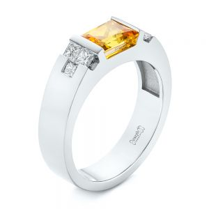 Custom Yellow Sapphire and Diamond Men's Band - Image