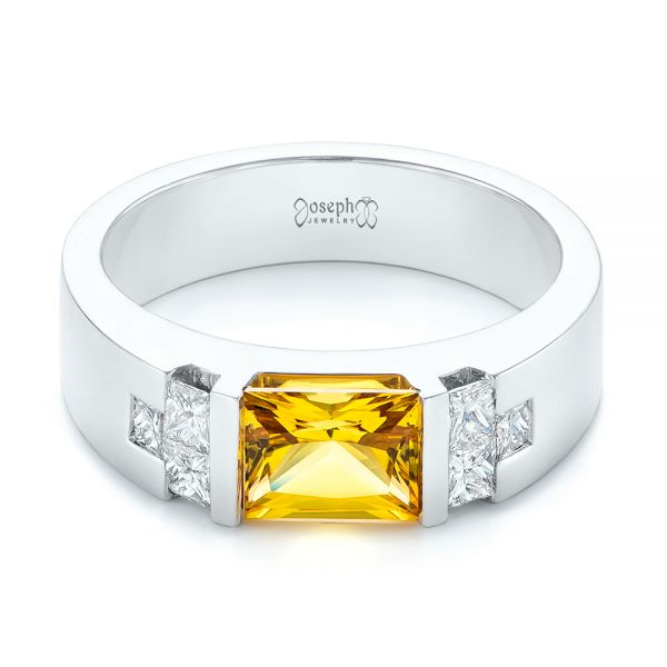 Custom Yellow Sapphire and Diamond Men's Band - Flat View -  104023 - Thumbnail