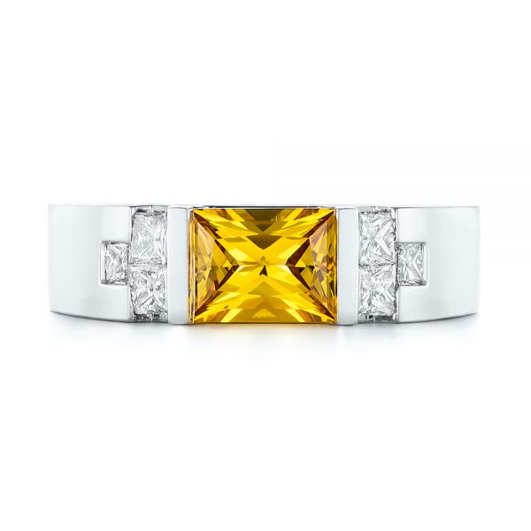 Custom Yellow Sapphire and Diamond Men's Band - Top View -  104023 - Thumbnail