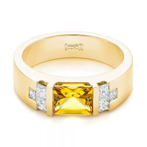 Custom Yellow Sapphire and Diamond Men's Band
