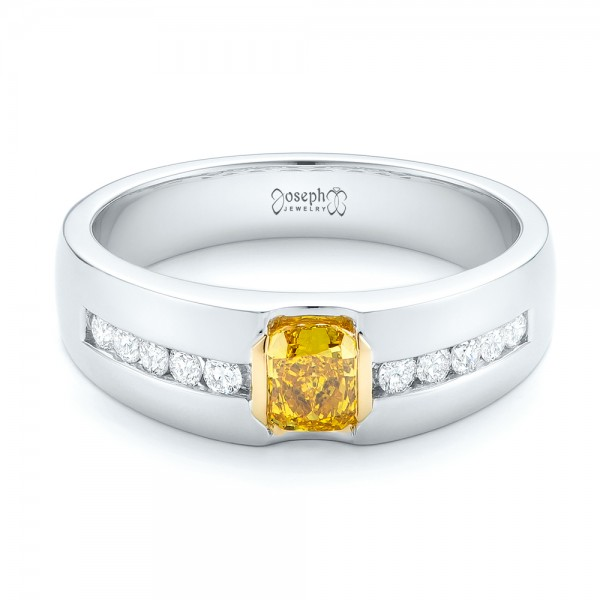 Custom Two-Tone Yellow and White Diamond Men's Wedding Band
