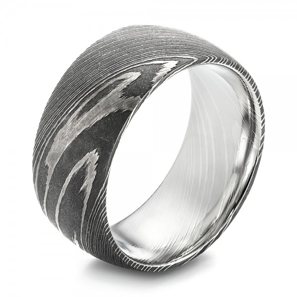Damascus Steel Men's Wedding Ring - Image