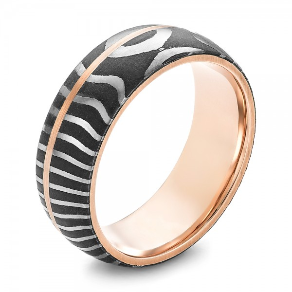 Damascus Steel and Rose Gold Wedding Band