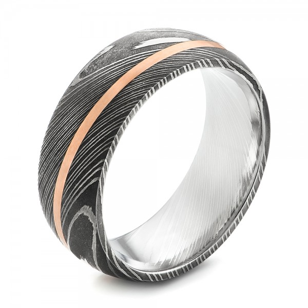 Damascus Steel and 14k Rose Gold Wedding Band - Three-Quarter View -  103120 - Thumbnail