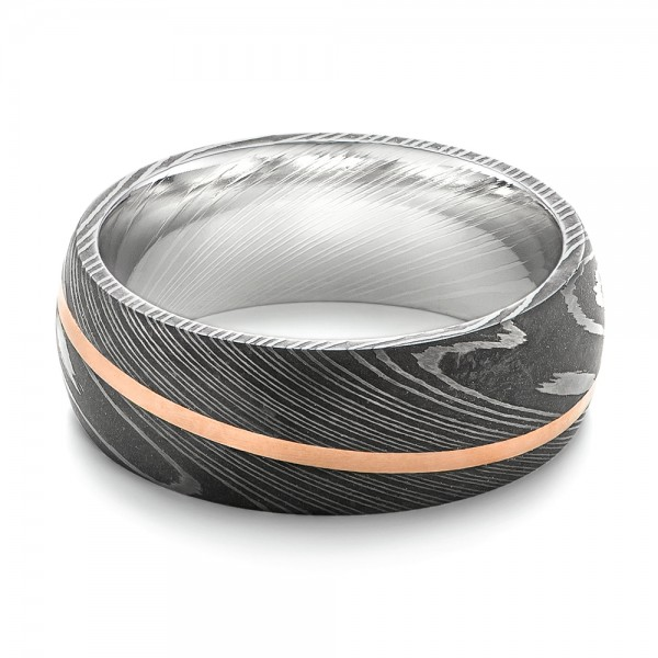 Damascus Steel and 14k Rose Gold Wedding Band - Flat View -  103120 - Thumbnail