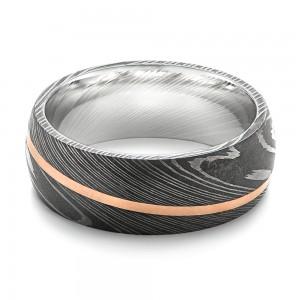 Damascus Steel and 14k Rose Gold Wedding Band