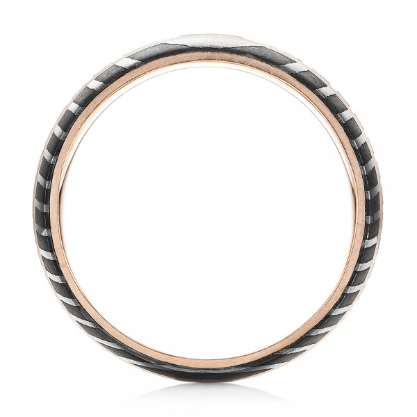 Damascus Steel and Rose Gold Wedding Band - Finger Through View