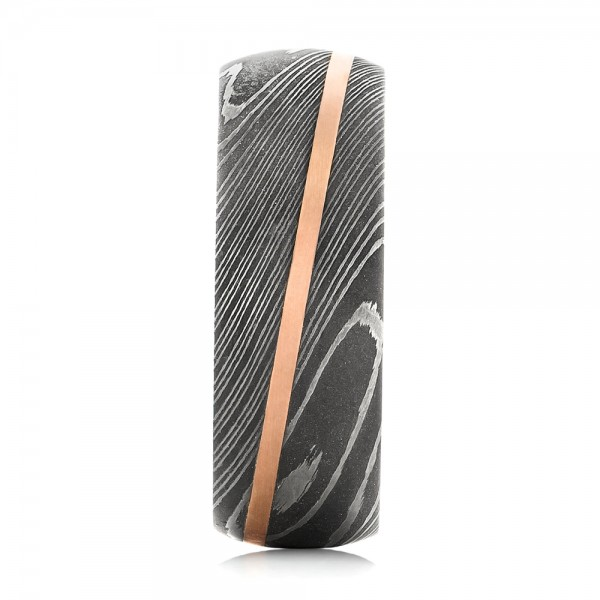 Damascus Steel and 14k Rose Gold Wedding Band - Side View -  103120 - Thumbnail