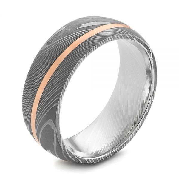Damascus Steel and 14k Rose Gold Wedding Band - Image