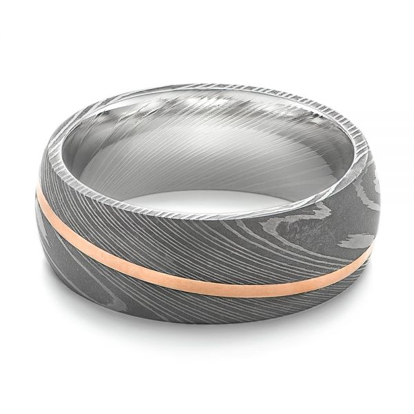 Damascus Steel Wedding Band - Flat View -  103120