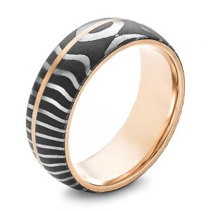 Damascus Steel and Rose Gold Wedding Band - Image