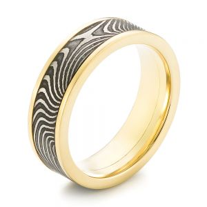 Damascus Steel and Yellow Gold Wedding Band - Image