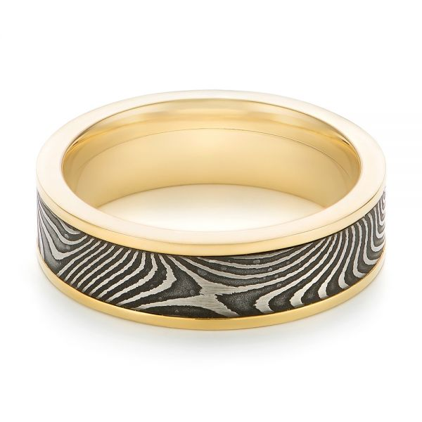 Damascus Steel Wedding Band - Flat View -  102940