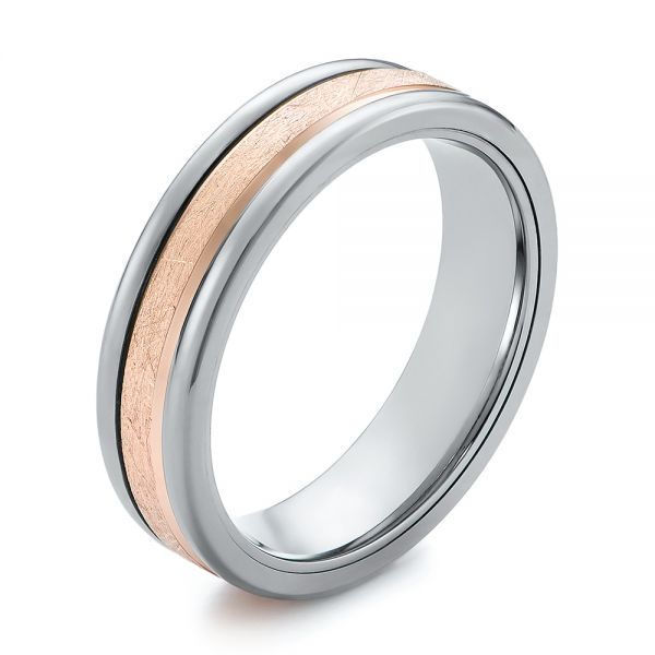 Gray Tungsten and Crystalline 14k Rose Gold Insert Wedding Ring - Image