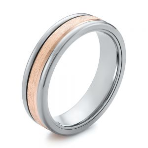 Gray Tungsten and Crystalline 14k Rose Gold Insert Wedding Ring