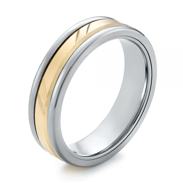 Grey Tungsten and 14k Yellow Gold Men's Wedding Ring - Image