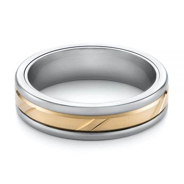 Grey Tungsten Men's Wedding Ring - Flat View -